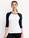 3/4-Sleeve Contrast Raglan T-Shirt, Bella 2000 // BL2000
