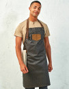Division Waxed Look Denim Bib Apron With Faux Leather,...