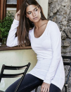 Ladies` Fashion Stretch Long Sleeve Extra Lenght, Tee...