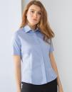 Ladies` Short Sleeved Pinpoint Oxford Shirt, Henbury H556...