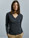 Ladies` V-Neck Knitted Pullover, Russell Collection...