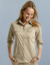 Ladies` Roll 3/4 Sleeve Fitted Twill Shirt, Russell...