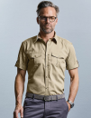Men`s Roll Short Sleeve Fitted Twill Shirt, Russell...