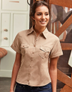 Ladies` Roll Short Sleeve Fitted Twill Shirt, Russell...