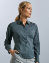 Ladies` Long Sleeve Fitted Polycotton Poplin Shirt,...