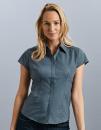 Ladies` Cap Sleeve Fitted Polycotton Poplin Shirt,...