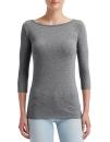 Women`s Stretch 3/4 Sleeve Tee, Anvil 2455L // A2455L Heather Graphite | XS
