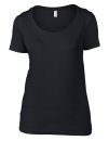 Women`s Featherweight Scoop Tee, Anvil 391 // A391 Black | XS
