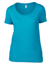 Women`s Featherweight Scoop Tee, Anvil 391 // A391 Caribbean Blue | XS