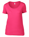 Women`s Featherweight Scoop Tee, Anvil 391 // A391 Hot Pink | XS