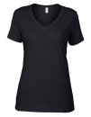 Women`s Featherweight V-Neck Tee, Anvil 392 // A392 Black | XS