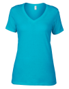Women`s Featherweight V-Neck Tee, Anvil 392 // A392 Caribbean Blue | XS