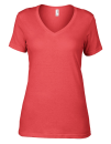 Women`s Featherweight V-Neck Tee, Anvil 392 // A392 Coral | XS