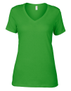 Women`s Featherweight V-Neck Tee, Anvil 392 // A392 Green Apple | XS