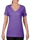 Women`s Featherweight V-Neck Tee, Anvil 392 // A392 Heather Purple | XS
