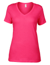 Women`s Featherweight V-Neck Tee, Anvil 392 // A392 Hot Pink | XS