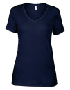 Women`s Featherweight V-Neck Tee, Anvil 392 // A392 Navy | XS