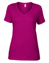 Women`s Featherweight V-Neck Tee, Anvil 392 // A392 Raspberry | XS