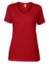 Women`s Featherweight V-Neck Tee, Anvil 392 // A392 Red | XS