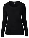 Women`s Featherweight Long Sleeve Scoop Tee, Anvil 399 // A399 Black   S