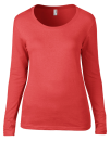 Women`s Featherweight Long Sleeve Scoop Tee, Anvil 399 // A399 Coral   S