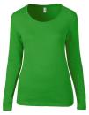 Women`s Featherweight Long Sleeve Scoop Tee, Anvil 399 // A399 Green Apple   S