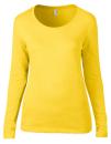 Women`s Featherweight Long Sleeve Scoop Tee, Anvil 399 // A399 Lemon Zest   S
