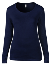 Women`s Featherweight Long Sleeve Scoop Tee, Anvil 399 // A399 Navy   S