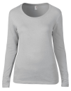 Women`s Featherweight Long Sleeve Scoop Tee, Anvil 399 // A399 Silver (Solid)   S