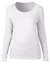 Women`s Featherweight Long Sleeve Scoop Tee, Anvil 399 // A399 White   S