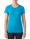 Women`s Tri-Blend Tee, Anvil 6750L // A6750L Heather Caribbean Blue | XS