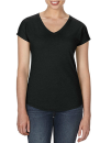 Women`s Tri-Blend V-Neck Tee, Anvil 6750VL // A6750VL Black | XS