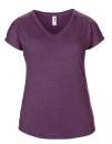 Women`s Tri-Blend V-Neck Tee, Anvil 6750VL // A6750VL Heather Aubergine | XS