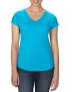 Women`s Tri-Blend V-Neck Tee, Anvil 6750VL // A6750VL Heather Caribbean Blue | XS