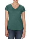 Women`s Tri-Blend V-Neck Tee, Anvil 6750VL // A6750VL Heather Dark Green | XS