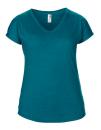 Women`s Tri-Blend V-Neck Tee, Anvil 6750VL // A6750VL Heather Galapagos Blue | XS