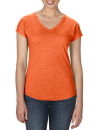 Women`s Tri-Blend V-Neck Tee, Anvil 6750VL // A6750VL Heather Orange | XS
