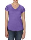 Women`s Tri-Blend V-Neck Tee, Anvil 6750VL // A6750VL Heather Purple | XS