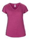 Women`s Tri-Blend V-Neck Tee, Anvil 6750VL // A6750VL Heather Raspberry | XS