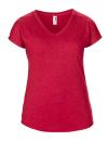 Women`s Tri-Blend V-Neck Tee, Anvil 6750VL // A6750VL Heather Red | XS