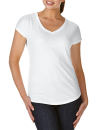 Women`s Tri-Blend V-Neck Tee, Anvil 6750VL // A6750VL White | XS
