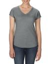 Women`s Tri-Blend V-Neck Tee, Anvil 6750VL // A6750VL Heather Graphite | XS