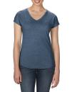 Women`s Tri-Blend V-Neck Tee, Anvil 6750VL // A6750VL Heather Navy | XS