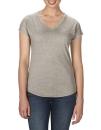 Women`s Tri-Blend V-Neck Tee, Anvil 6750VL // A6750VL Heather Slate | XS