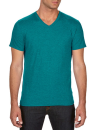 Tri-Blend V-Neck Tee, Anvil 6752 // A6752 Heather Galapagos Blue | XS