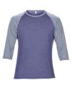 Tri-Blend 3/4 Sleeve Raglan Tee, Anvil 6755 // A6755 Heather Blue / Heather Grey | XS