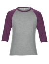 Tri-Blend 3/4 Sleeve Raglan Tee, Anvil 6755 // A6755 Heather Grey / Heather Aubergine | XS