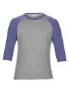 Tri-Blend 3/4 Sleeve Raglan Tee, Anvil 6755 // A6755 Heather Grey / Heather Blue | XS