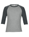 Tri-Blend 3/4 Sleeve Raglan Tee, Anvil 6755 // A6755 Heather Grey / Heather Dark Grey | XS