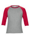 Tri-Blend 3/4 Sleeve Raglan Tee, Anvil 6755 // A6755 Heather Grey / Heather Red | XS